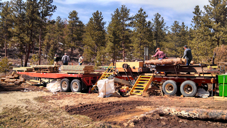 Golden West Pine Mills' portable mill site in Red Feather Lakes, CO